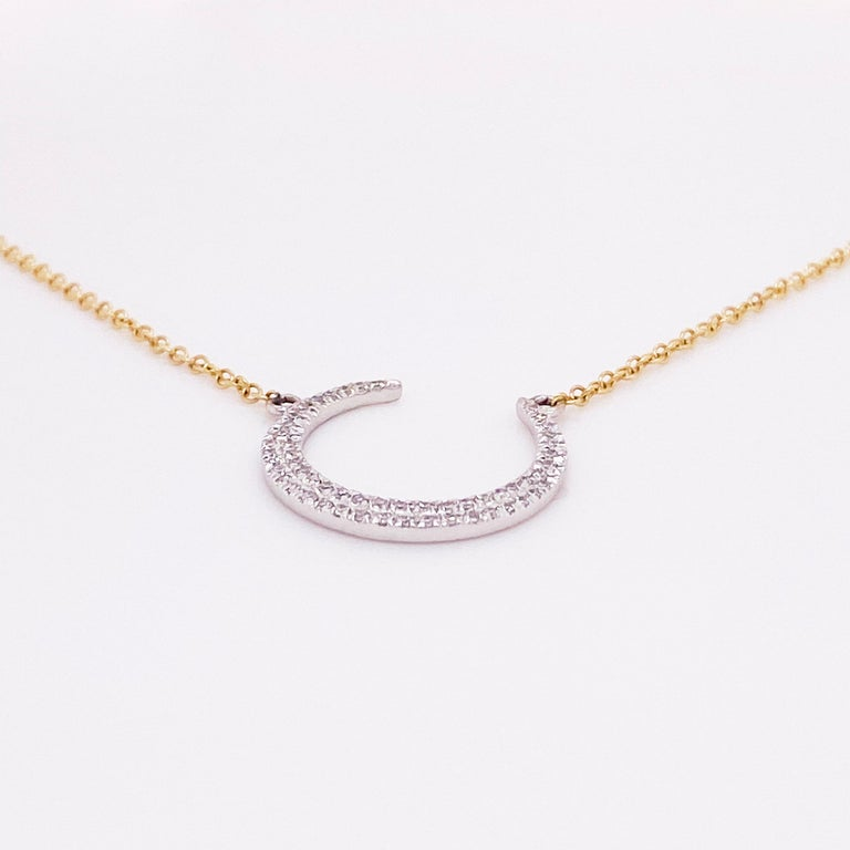 Modern Crescent Moon Diamond Necklace, 14k White and Yellow Gold, Mixed Metal, Adjust For Sale