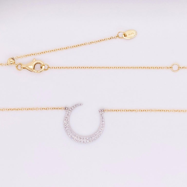 Round Cut Crescent Moon Diamond Necklace, 14k White and Yellow Gold, Mixed Metal, Adjust For Sale