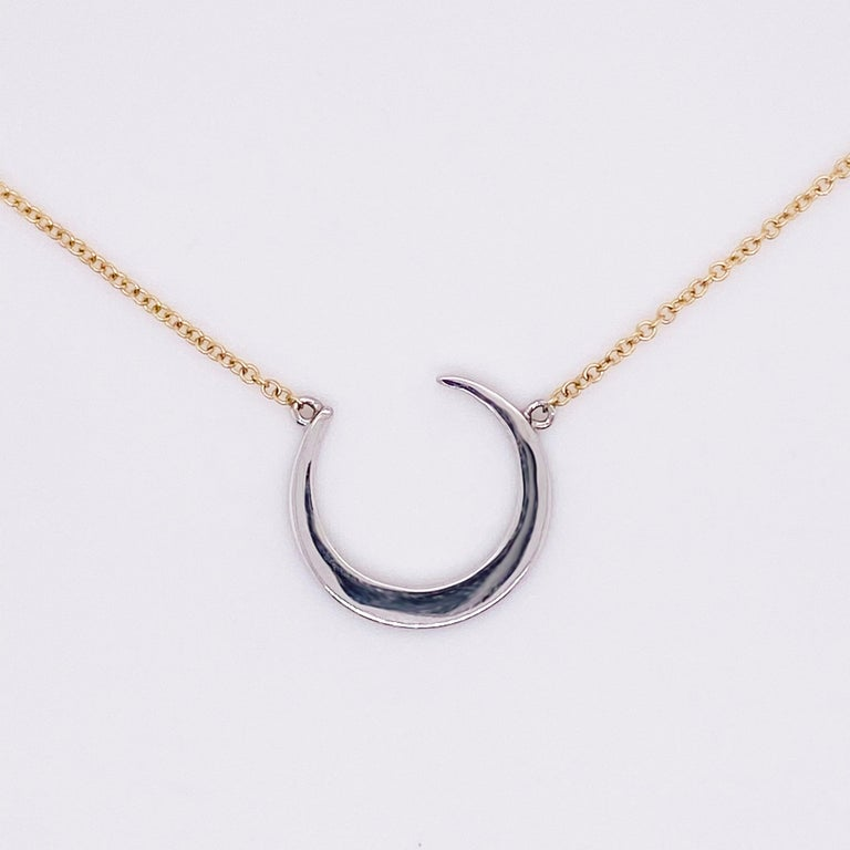 Crescent Moon Diamond Necklace, 14k White and Yellow Gold, Mixed Metal, Adjust In New Condition For Sale In Austin, TX