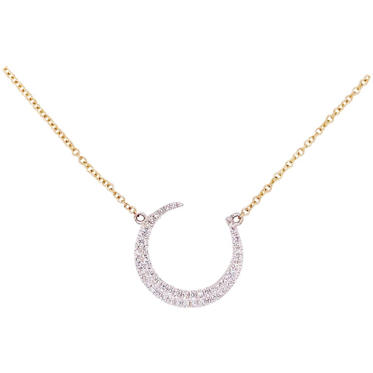 Crescent Moon Diamond Necklace, 14k White and Yellow Gold, Mixed Metal, Adjust For Sale