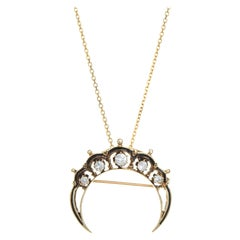 Crescent Moon Diamond Pendant Vintage 14k Yellow Gold Necklace Celestial Jewelry