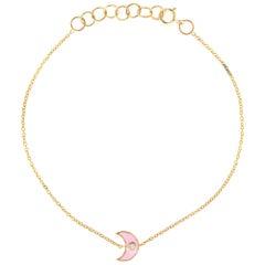 Crescent Moon Enamel Bracelet Diamond Whisper Pink 14 Karat Gold Adjustable