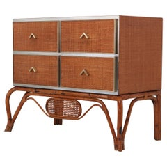 Crespi Style Commode in Rattan, Bamboo, Brass and Chrome by Vivai del Sud