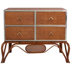 Crespi Style Drawer in Rattan, Bamboo, Brass and Chrome by Vivai del Sud