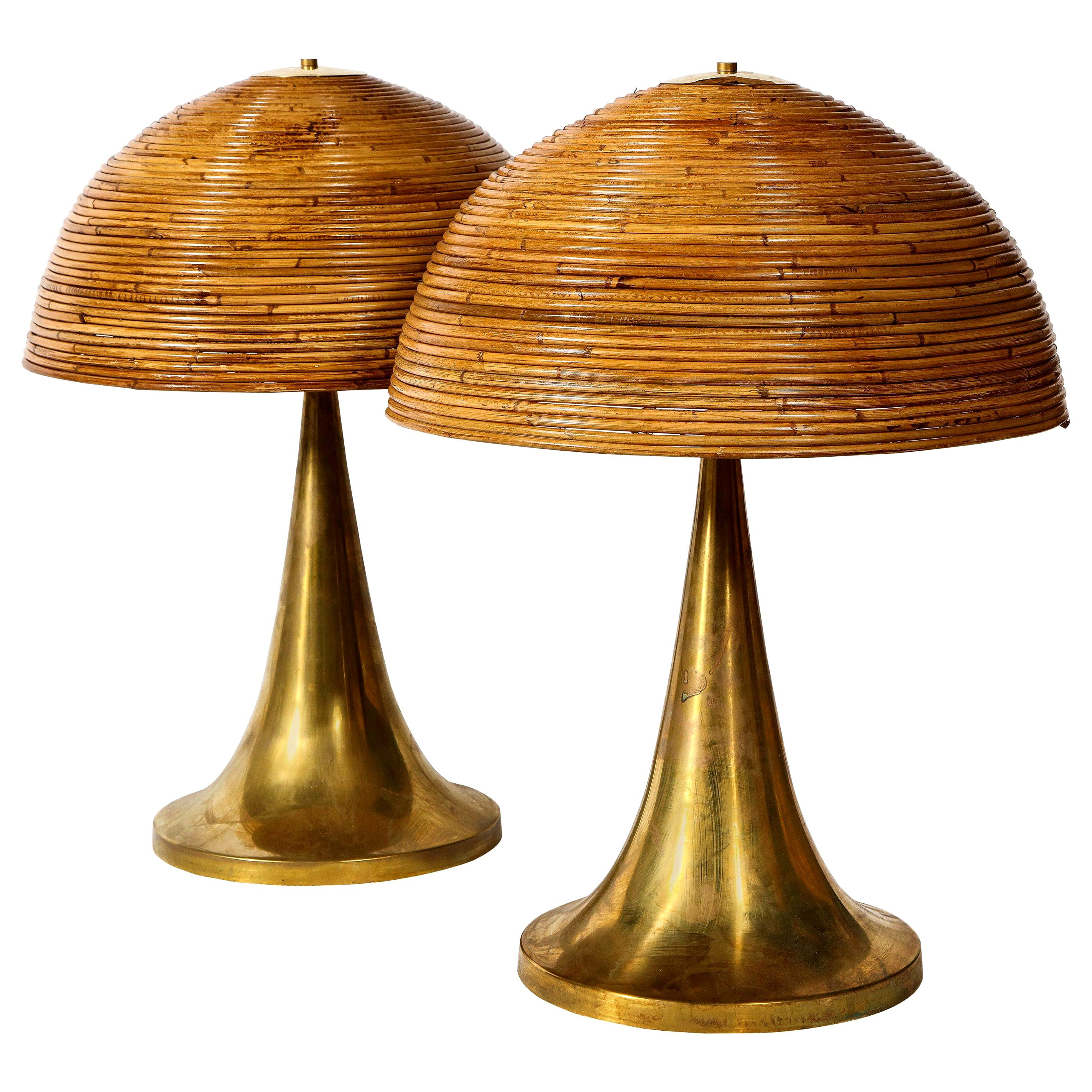 Large Bamboo Pair of Table Lamps with Brass Bases