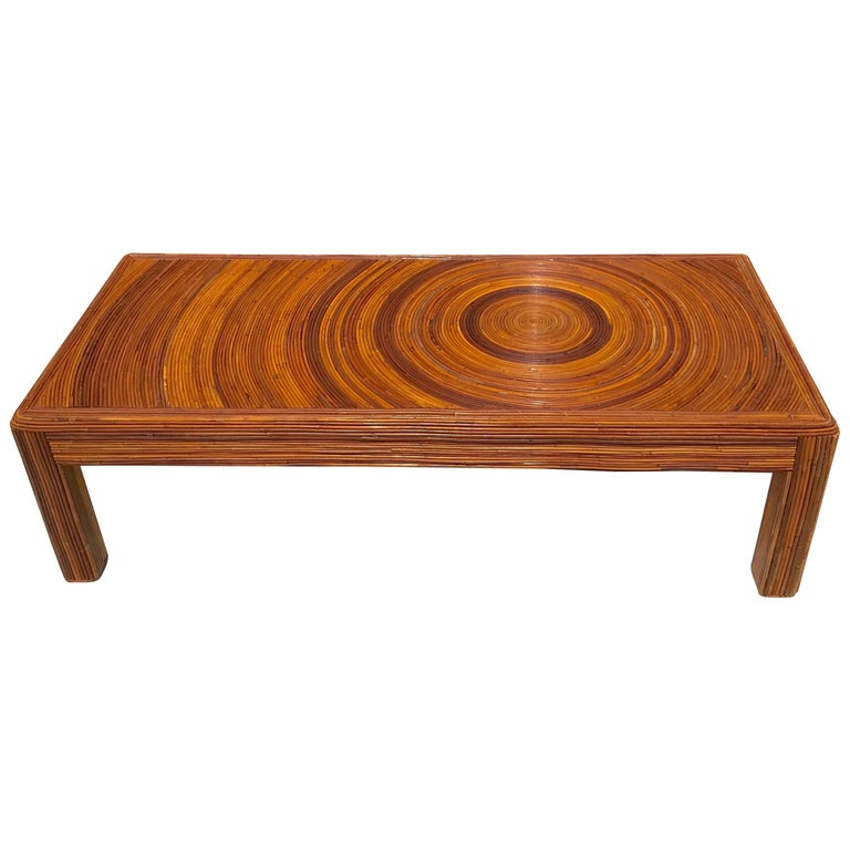Long Bamboo Coffee Table: Crespi Style Split Bamboo Long Coffee Table For Sale At