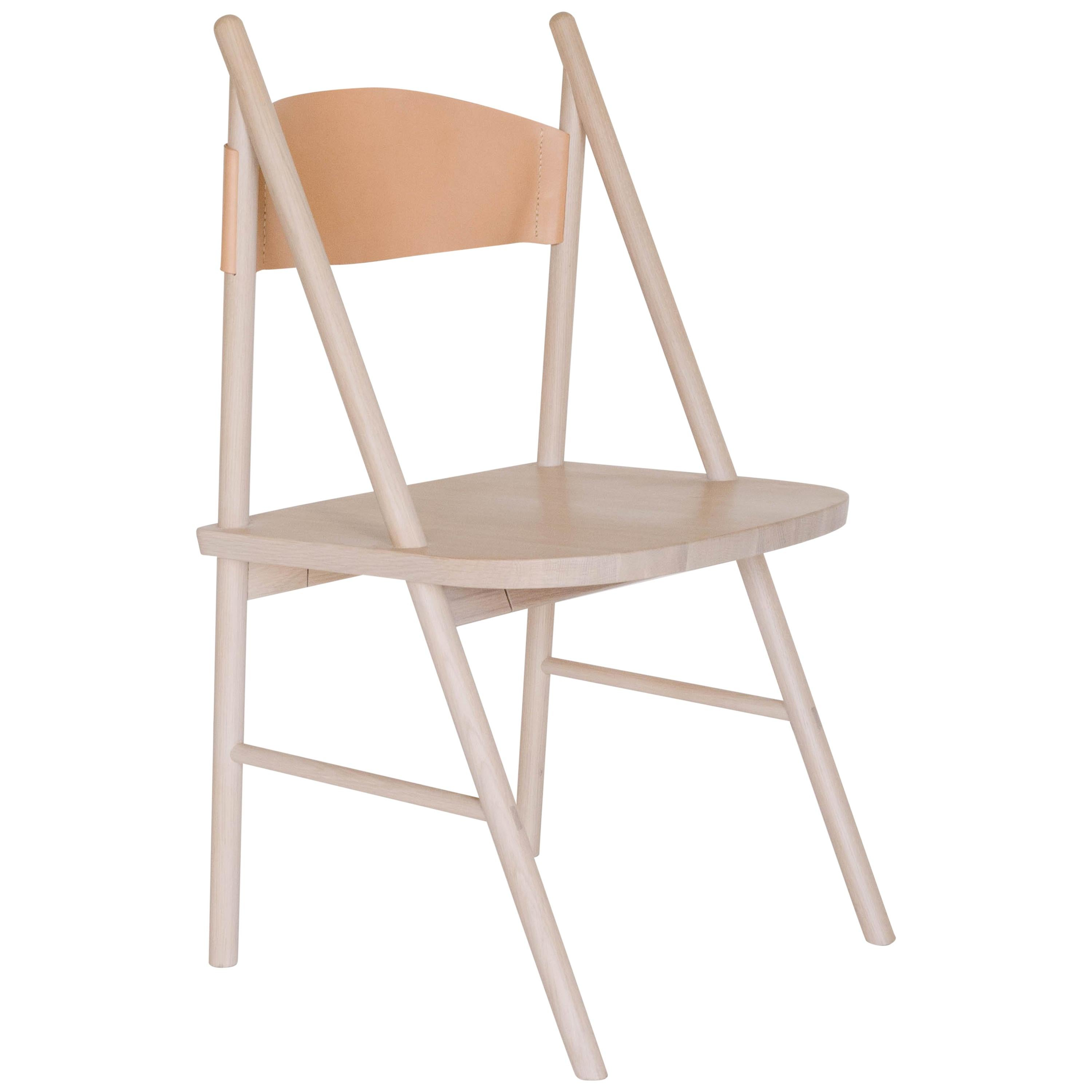 Cress Chair by Sun at Six, Nude Minimalist Side or Dining Chair in Wood, Leather