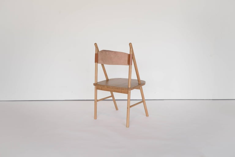 Chinese Cress Chair by Sun at Six, Sienna Minimalist Dining Chair in Wood, Leather For Sale