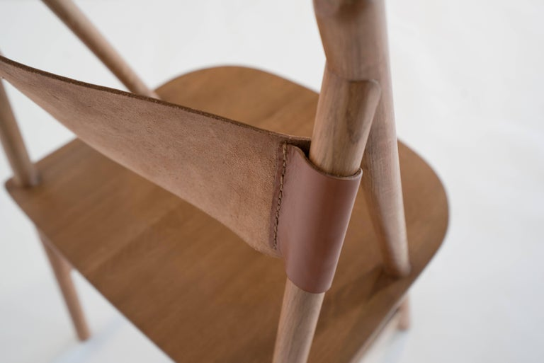 Cress Chair by Sun at Six, Sienna Minimalist Dining Chair in Wood, Leather In New Condition For Sale In San Jose, CA