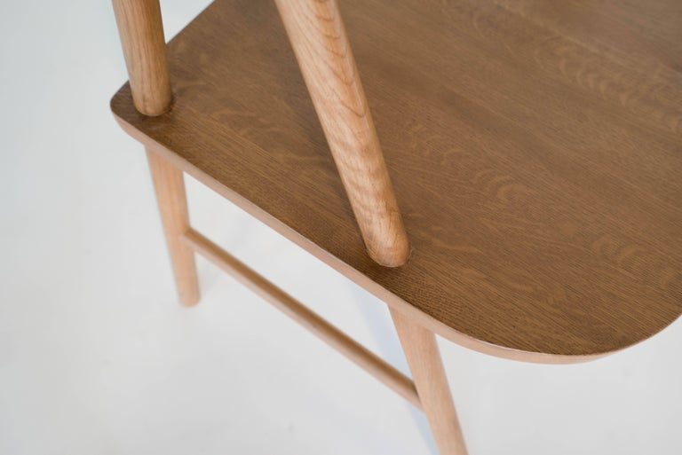 Contemporary Cress Chair by Sun at Six, Sienna Minimalist Dining Chair in Wood, Leather For Sale