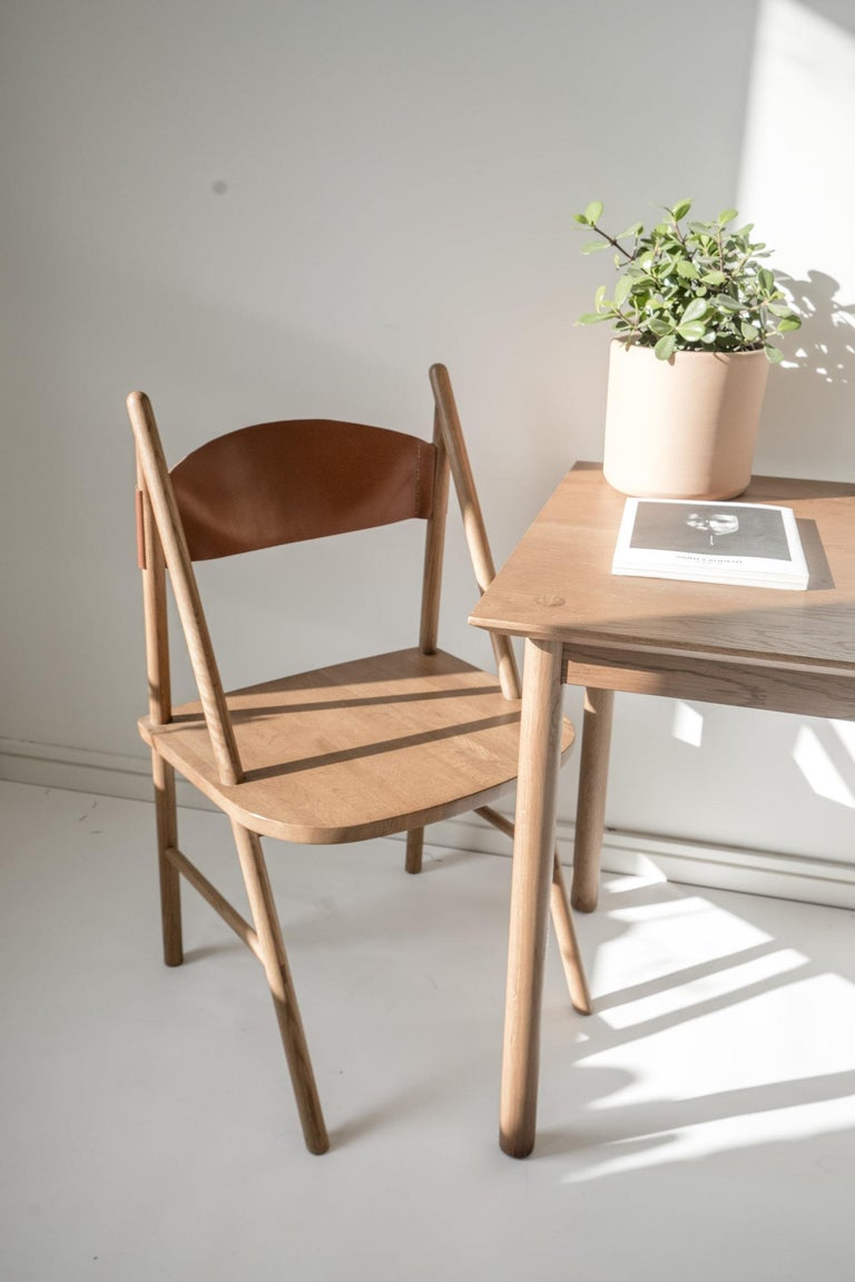 Cress Chair by Sun at Six, Sienna Minimalist Dining Chair in Wood, Leather For Sale 1