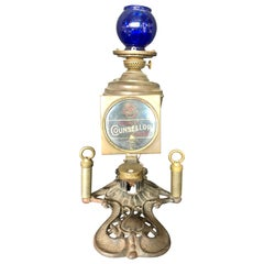 Cressman's Counsellor Cigar Lighter and Lamp with Blue Glass Globe