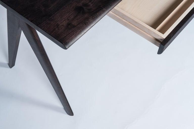 Modern Crest Desk by Tretiak Works, Oxidized Walnut Handmade Contemporary Basic Desk For Sale