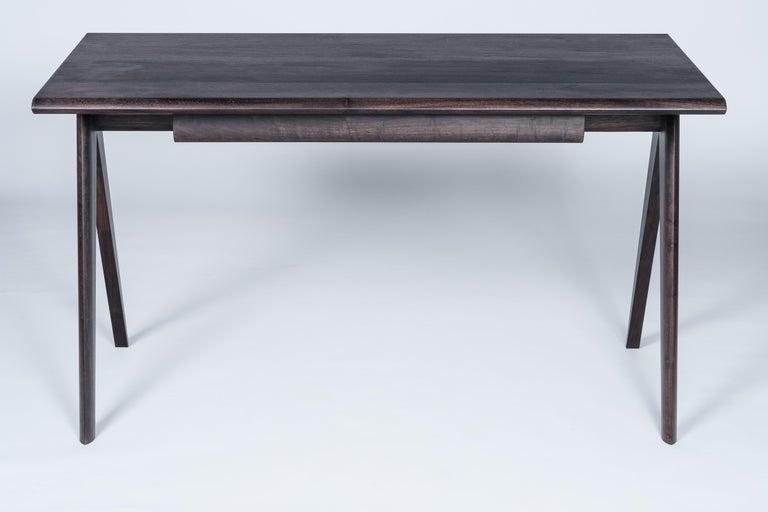 American Crest Desk by Tretiak Works, Oxidized Walnut Handmade Contemporary Basic Desk For Sale