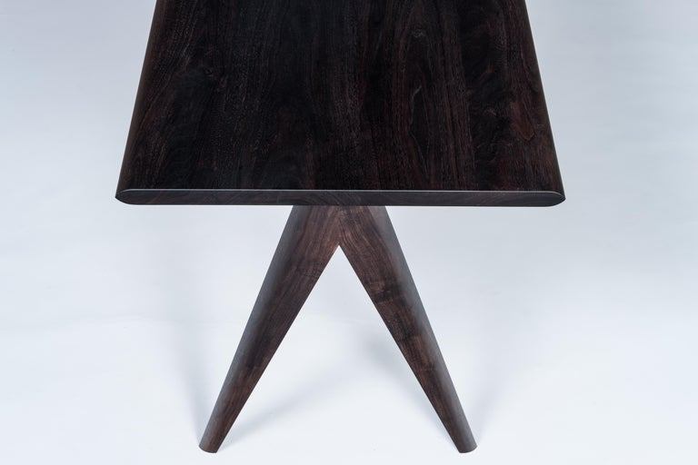 Hand-Crafted Crest Desk by Tretiak Works, Oxidized Walnut Handmade Contemporary Basic Desk For Sale