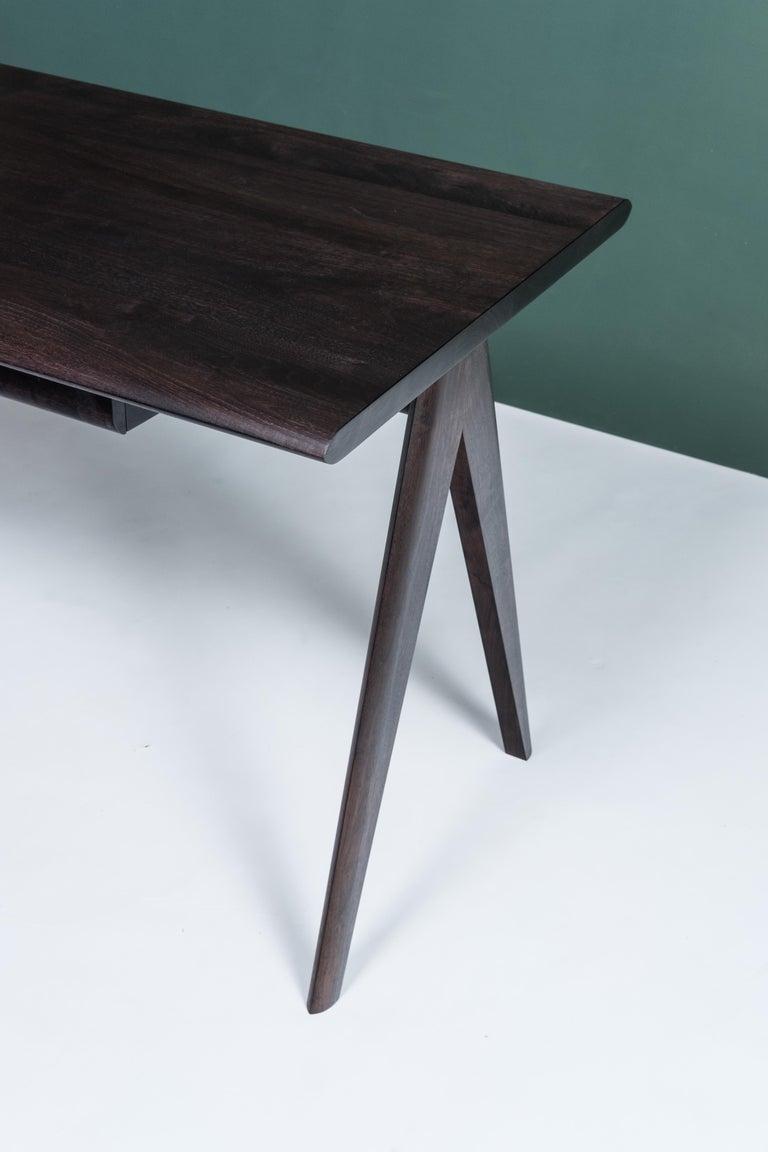 Crest Desk by Tretiak Works, Oxidized Walnut Handmade Contemporary Basic Desk In New Condition For Sale In Portland, OR