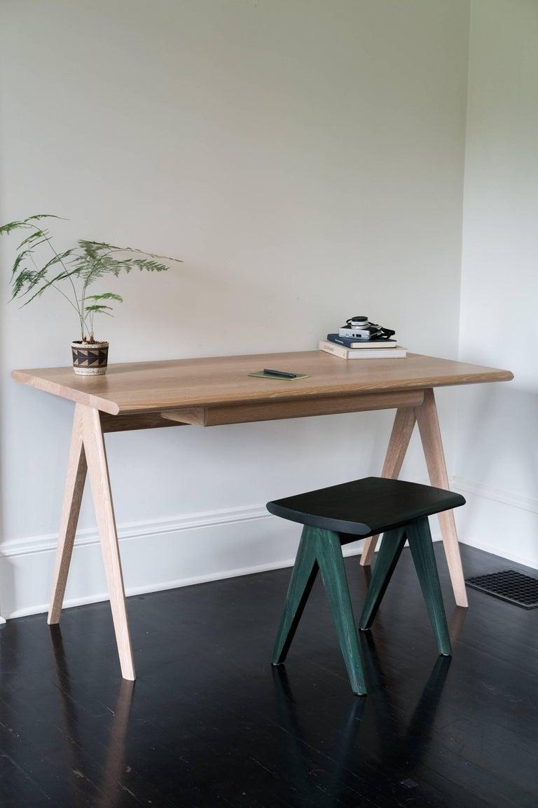 Modern Crest Desk by Tretiak Works, Cerused White Oak Handmade Contemporary Basic Desk For Sale