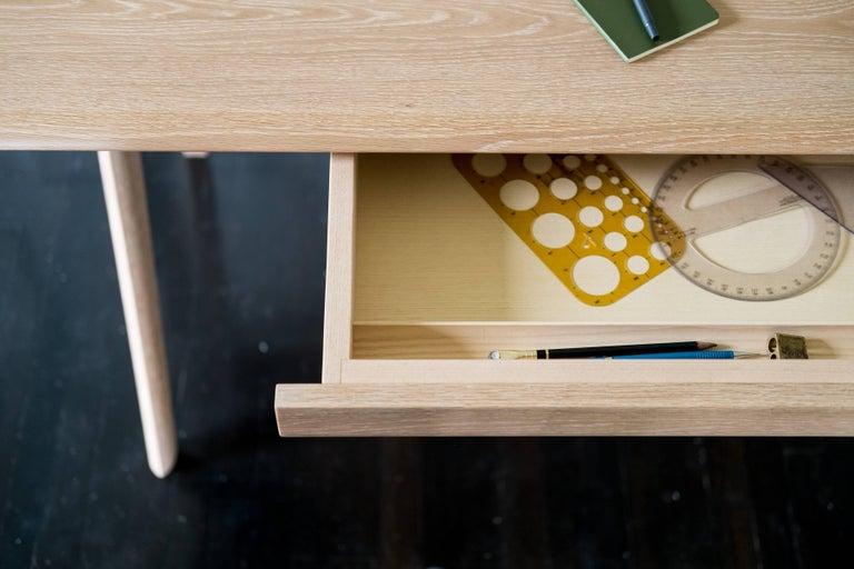 American Crest Desk by Tretiak Works, Cerused White Oak Handmade Contemporary Basic Desk For Sale