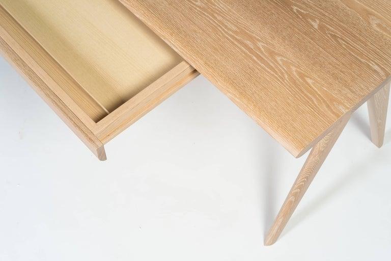 Crest Desk by Tretiak Works, Cerused White Oak Handmade Contemporary Basic Desk For Sale 1