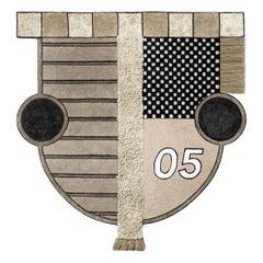 Crest I Track by Moniomi, Hand-Tufted Wool Neutrals Graphic Rug