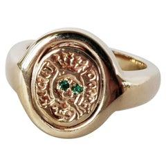 Crest Signet 14k Gold Skull Ring with Emerald Eyes Memento Mori Style J Dauphin