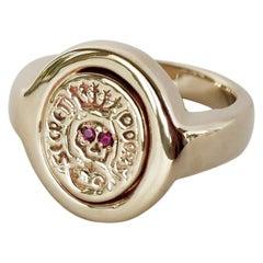 Crest Signet  Memento Mori Style Skull Gold Ring Ruby Eyes J Dauphin
