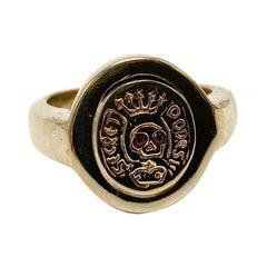 Crest Signet Gold Memento Mori Style Ruby Skull Ring J Dauphin