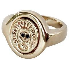 Crest Ring Signet Ring Black Diamond Gold Skull Memento Mori Style J Dauphin
