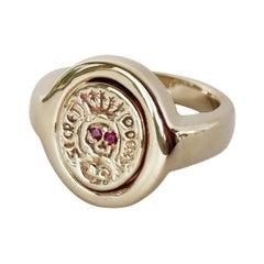 Crest Signet Memento Mori Style Skull Ring Gold Ruby J Dauphin
