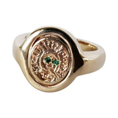 Crest Signet Ring Emerald Memento Mori Style Skull Gold Vermeil J Dauphin