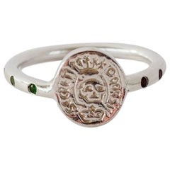 Crest Signet Ring Emerald Ruby Skull Sterling Silver Memento Mori J Dauphin