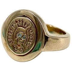 Crest Signet Ring Gold Aquamarine Memento Mori Style Skull J Dauphin