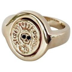 Crest Signet Ring Gold Vermeil Black Diamond Skull Victorian Style J Dauphin