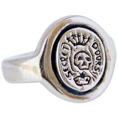 Crest Signet Ring Gold Vermeil Skull Memento Mori Pinky Ring J Dauphin