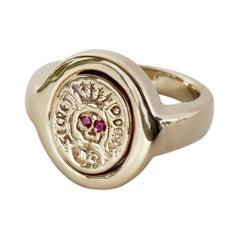 Crest Signet Ring Ruby Skull Bronze Victorian Style J Dauphin