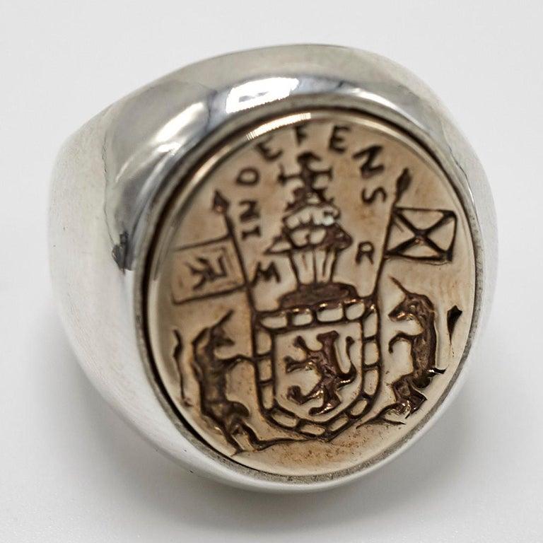 Renaissance Revival Crest Signet Ring Sterling Silver Bronze Unisex J Dauphin For Sale