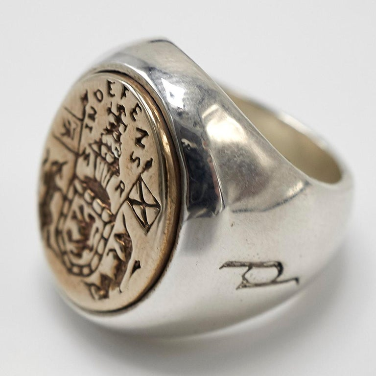 Crest Signet Ring Sterling Silver Bronze Unisex J Dauphin In New Condition For Sale In Los Angeles, CA