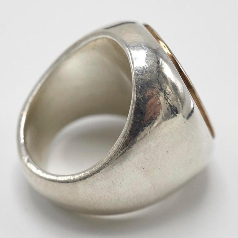 Men's Crest Signet Ring Sterling Silver Bronze Unisex J Dauphin For Sale