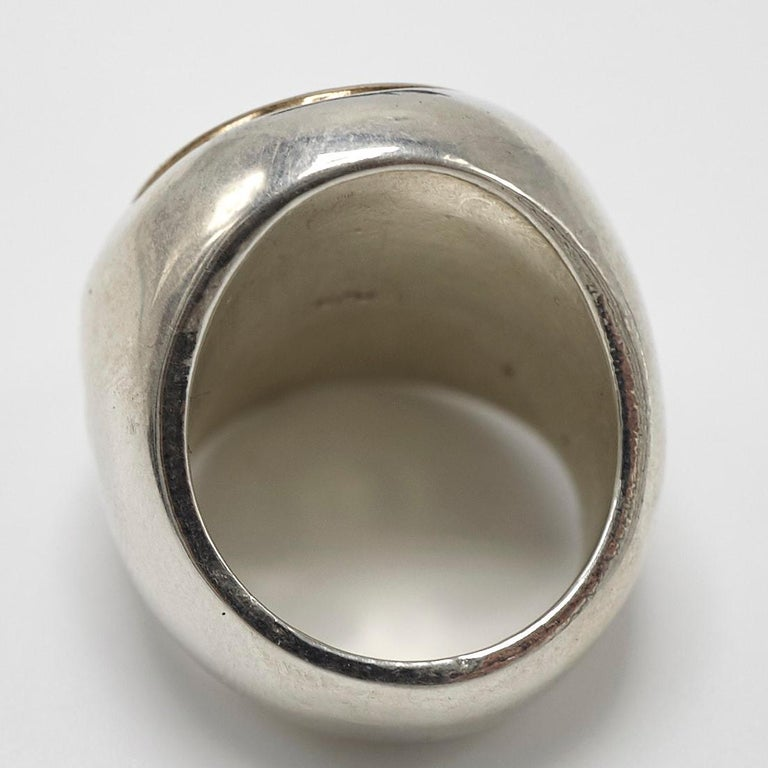 Crest Signet Ring Sterling Silver Bronze Unisex J Dauphin For Sale 1