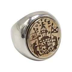 Crest Signet Ring Solid Silver Bronze Crest J Dauphin