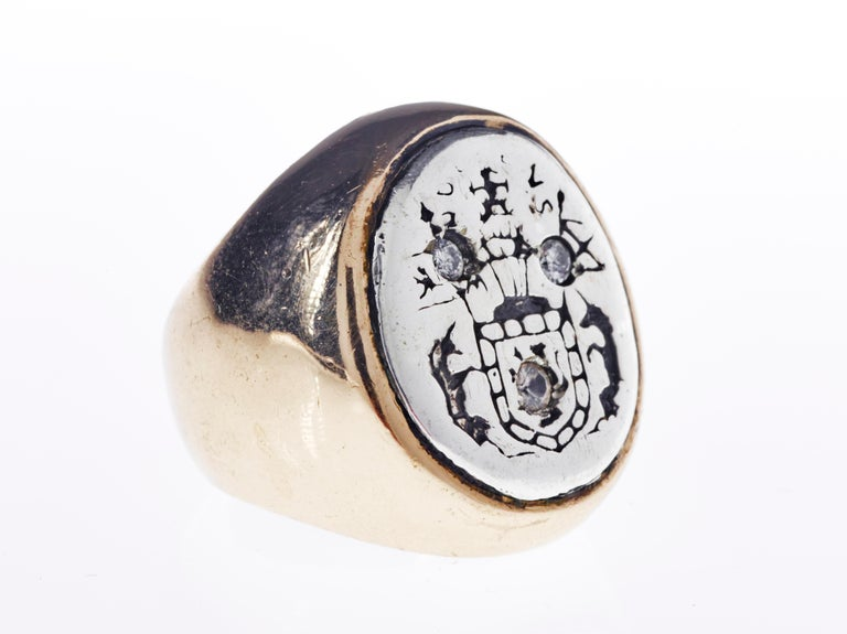 Crest Signet Ring Sterling Silver Gold Queen Mary Crest Lion Unicorn J Dauphin For Sale 2