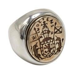 Crest Signet Ring Sterling Silver Bronze Mens Womens J Dauphin