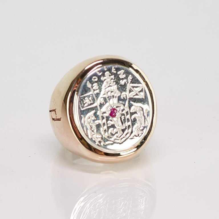 Crest Signet Ring Sterling Silver Bronze with Ruby gem in the middle of Crest ( can be replaced with Black or White Diamond ) J Dauphin can be worn by women or men.  Inspired by Queen Mary of Scots ring. signet-ring; engraved; shoulders ornamented