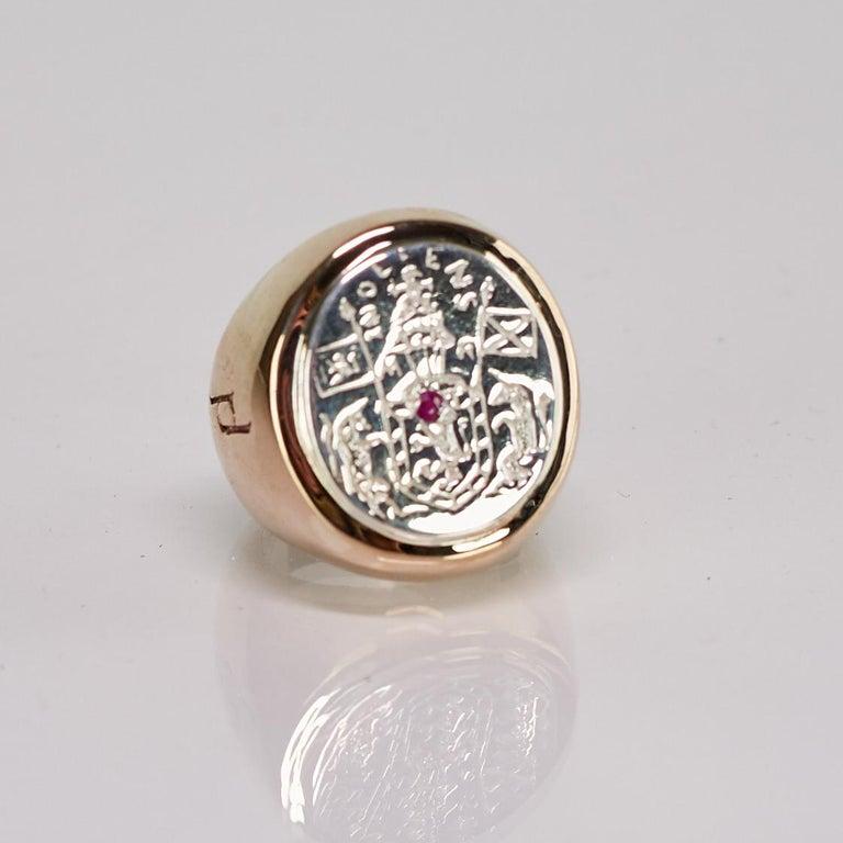 Renaissance Crest Signet Ring Sterling Silver Bronze Ruby Unisex J Dauphin For Sale