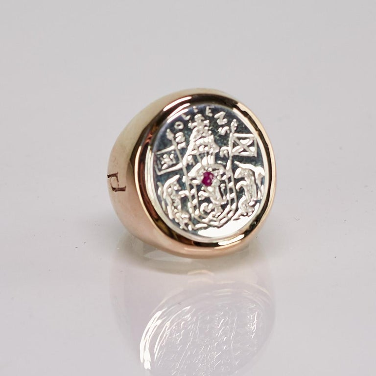 Brilliant Cut Crest Signet Ring Sterling Silver Bronze Ruby Unisex J Dauphin For Sale