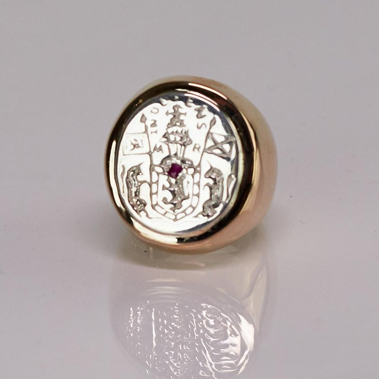 Women's or Men's Crest Signet Ring Sterling Silver Bronze Ruby Unisex J Dauphin For Sale