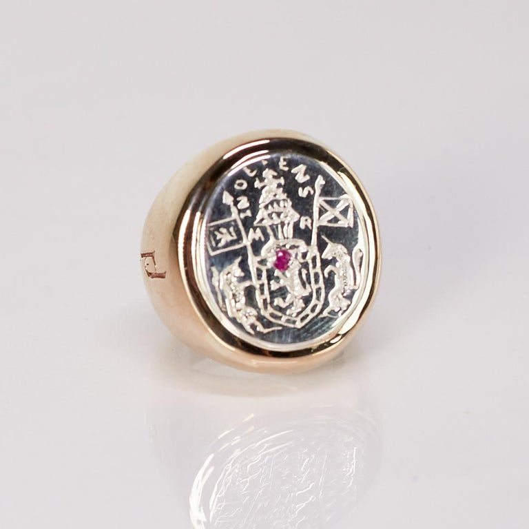 Crest Signet Ring Sterling Silver Bronze Ruby Unisex J Dauphin For Sale 1