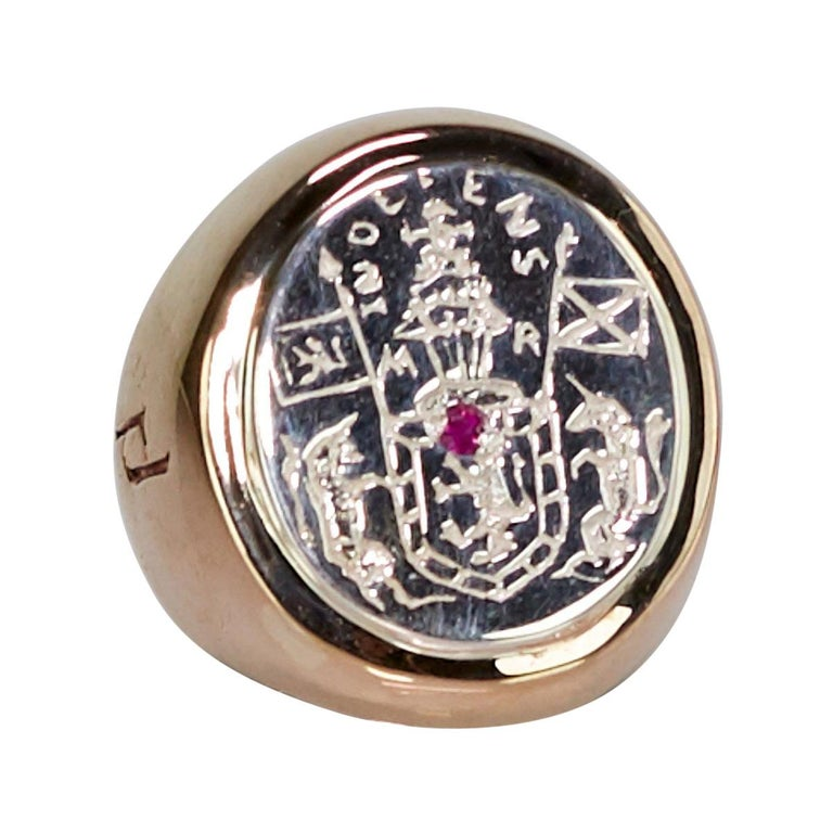 Crest Signet Ring Sterling Silver Bronze Ruby Unisex J Dauphin For Sale