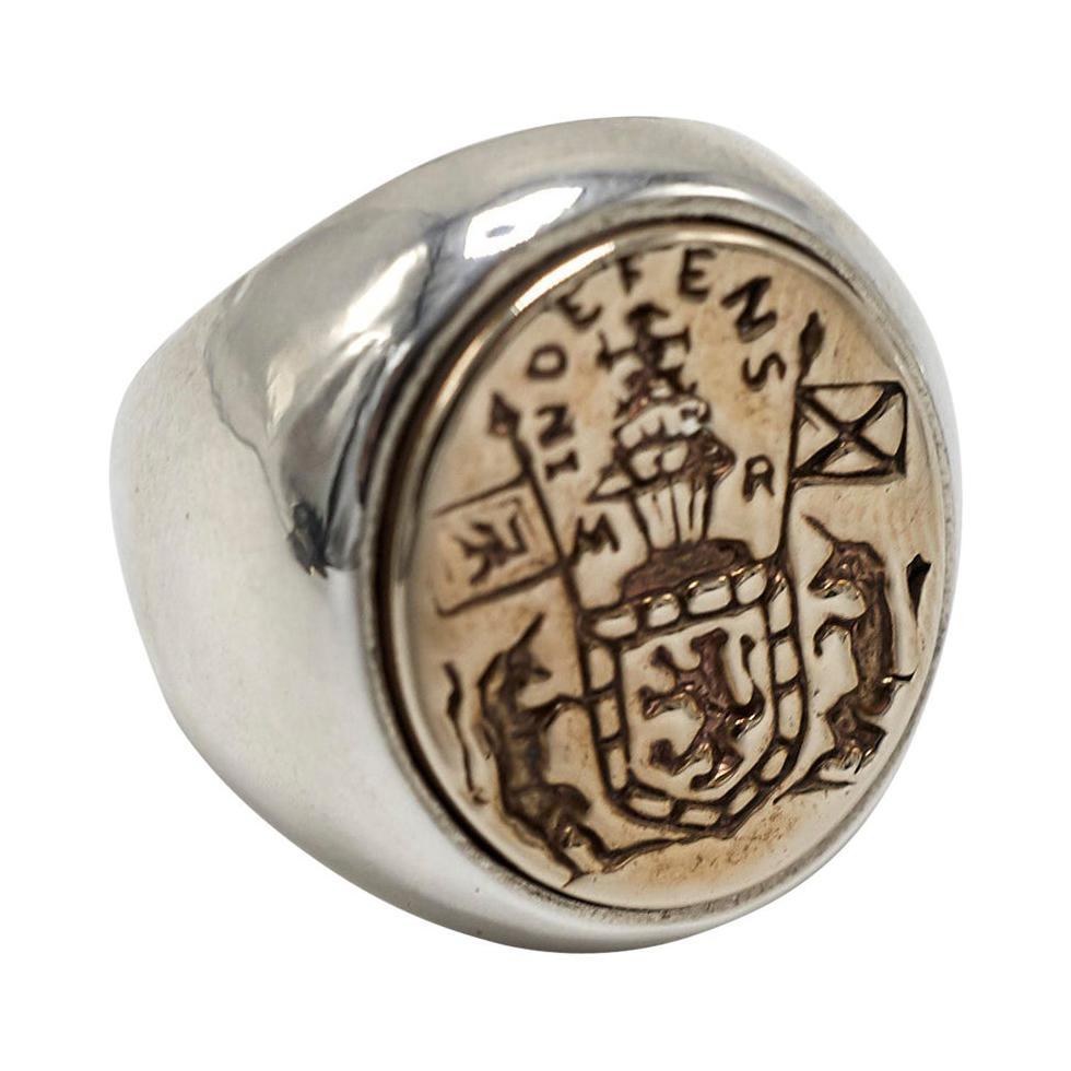 Crest Signet Ring Sterling Silver Bronze Unisex J Dauphin