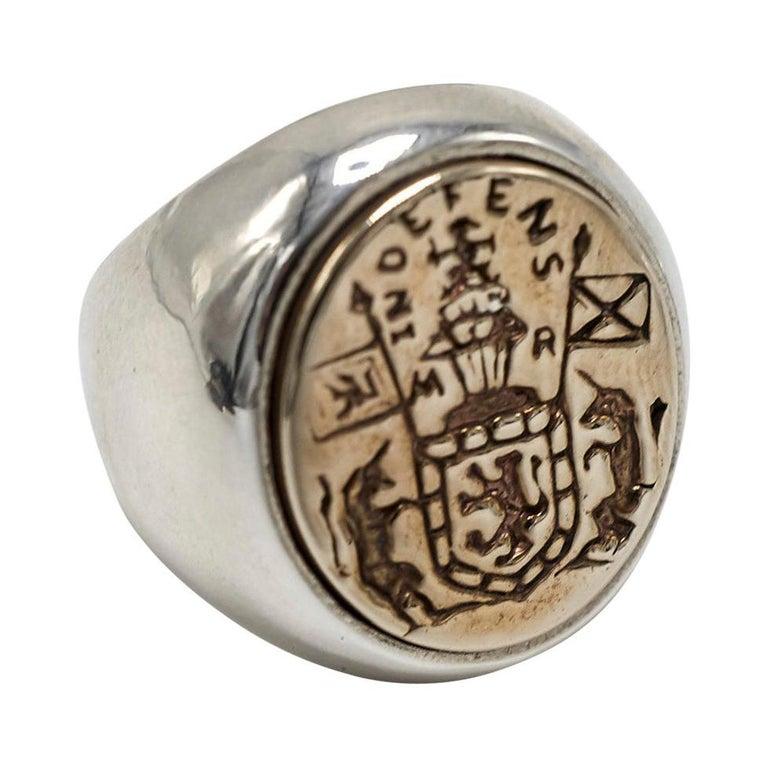 Crest Signet Ring Sterling Silver Bronze Unisex J Dauphin For Sale